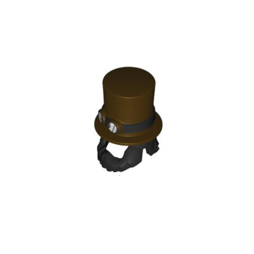 레고 부품 모자 수염 일체형 Dark Brown Minifigure, Headgear Hat, Top Hat Large with Black Beard and Band with Goggles Pattern