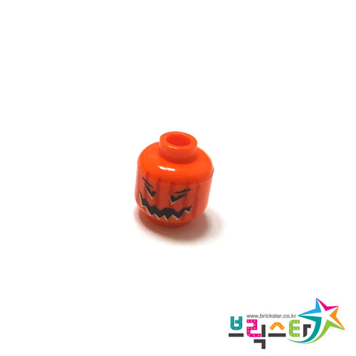 레고 부품 피규어 할로윈 호박 머리 오렌지색 Orange Minifigure, Head Pumpkin Jack O' Lantern with Vertical Lines on Back Pattern 4558585